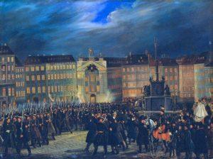 HGM_Revolution_1848_Defilée_der_Nationalgarde_auf_dem_Platz_am_Hof_in_Wien